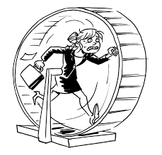 Woman in hamster wheel, stress